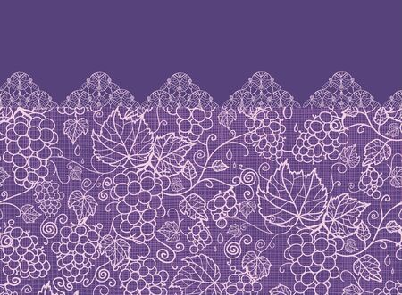 Lace grape vines horizontal seamless pattern background border photo