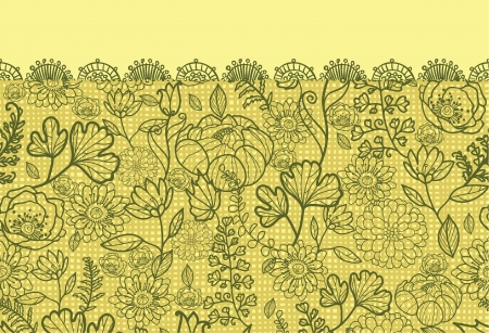 Fabric lace flowers horizontal seamless pattern background border Vector