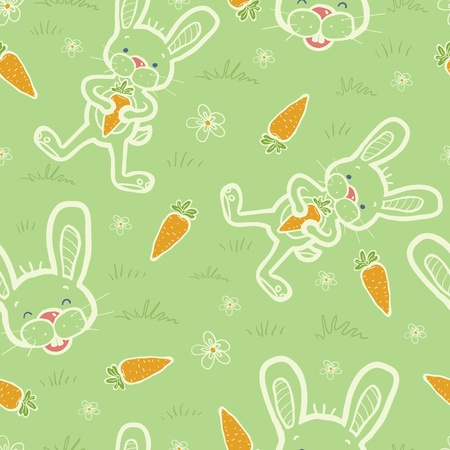Bunnies eating carrots seamless pattern background Vector