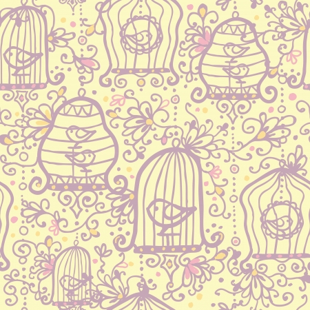 Doodle birdcages seamless pattern background