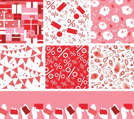 Set of seven sale and shopping seamless patterns backgrounds Vector