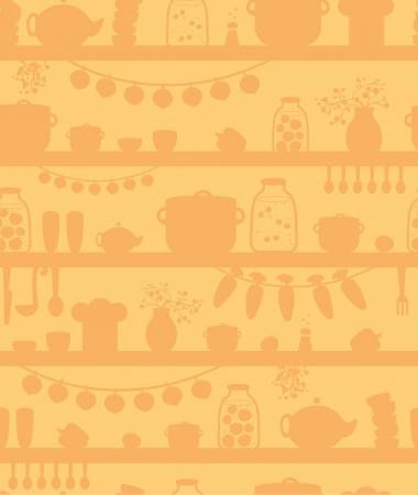 cook book: Kitchen pantry shelves seamless pattern background Illustration