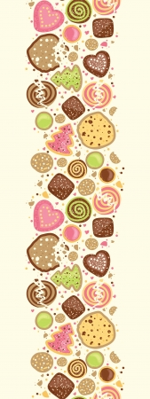 Colorful cookies vertical seamless pattern background border Çizim