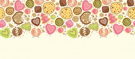 다채로운 쿠키 가로 원활한 패턴 배경 테두리