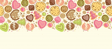 Colorful cookies horizontal seamless pattern background border