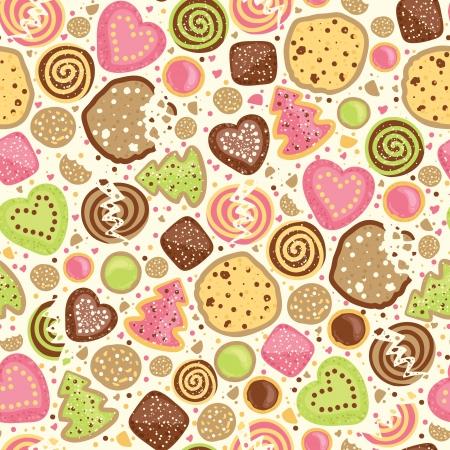 다채로운 쿠키 원활한 패턴 배경