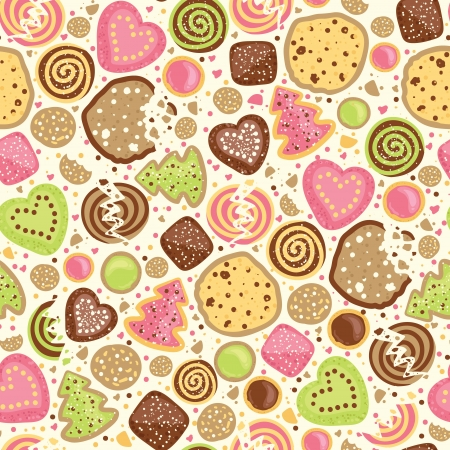 Colorful cookies seamless pattern background Illustration