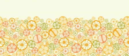 Citrus slices horizontal seamless pattern background border Vector