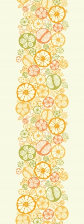 Citrus slices vertical seamless pattern background border Vector