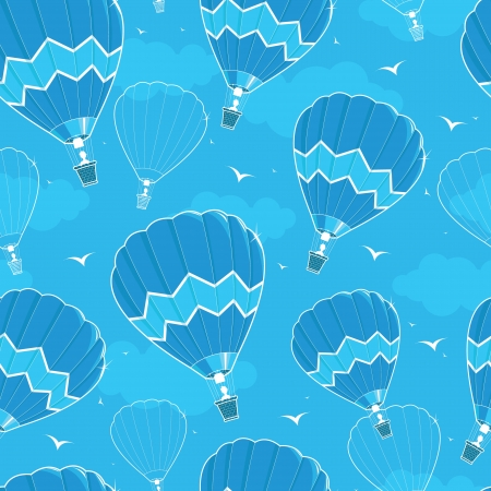 Hot air balloons seamless pattern background Vector