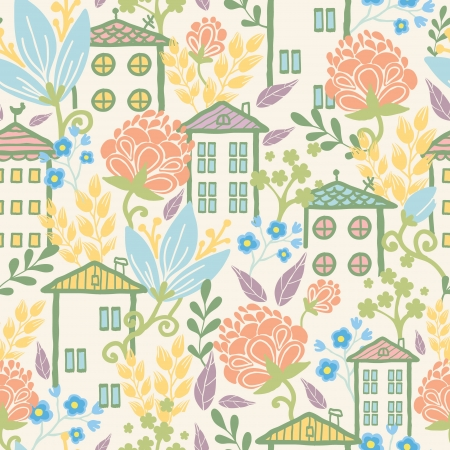 Houses among flowers seamless pattern background