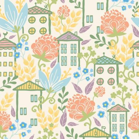 Huizen tussen de bloemen naadloze patroon achtergrond