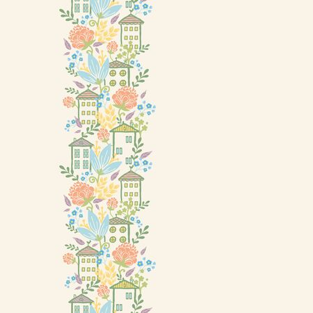 Houses among flowers vertical seamless pattern background border Vector