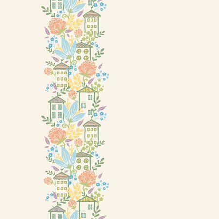 midtown: Houses among flowers vertical seamless pattern background border Illustration