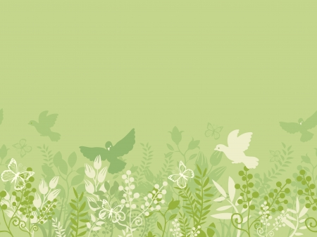 Green nature horizontal seamless pattern background border Vector