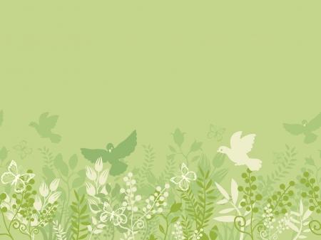buttefly: Green nature horizontal seamless pattern background border
