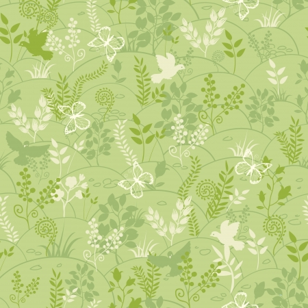 buttefly: Green nature seamless pattern background Illustration