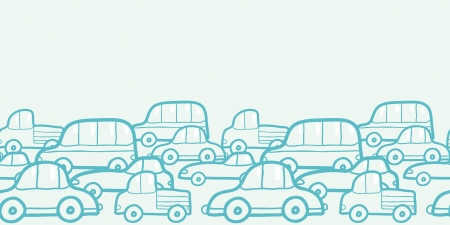 Doodle cars horizontal seamless pattern background border