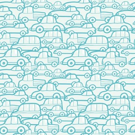 cartoon car: Coches Doodle fondo sin fisuras patr�n