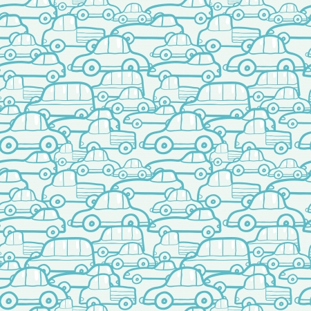the traffic jam: Doodle cars seamless pattern background