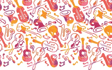 Colorful musical instruments horizontal seamless pattern border Vector