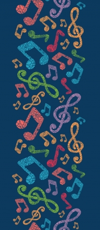 Colorful musical notes vertical seamless pattern background Vector