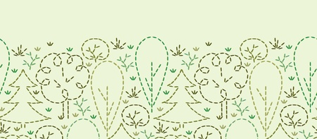 Embroidered forest horizontal seamless pattern background border Vector