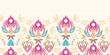 Abstract damask tulips horizontal seamless pattern background Vector