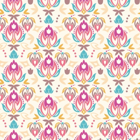 Abstract damask tulips seamless pattern background Иллюстрация