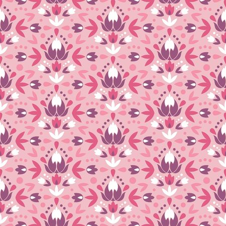 Abstract damask flowers seamless pattern background Vector