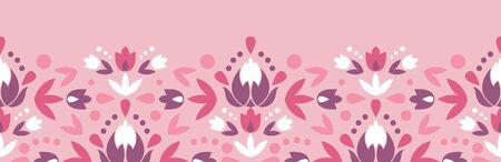 Abstract damask flowers horizontal seamless pattern background Фото со стока
