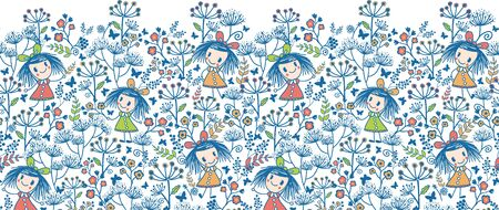 Girls in the flower garden horizontal seamless pattern background Vector