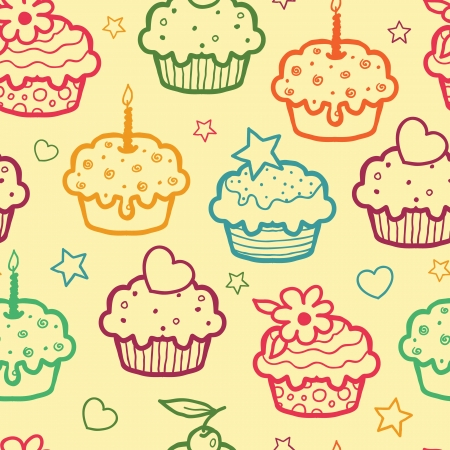 Kleurrijke muffins naadloze patroon achtergrond