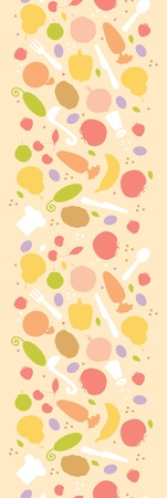 Vegetarian cooking vertical seamless pattern background border Vector