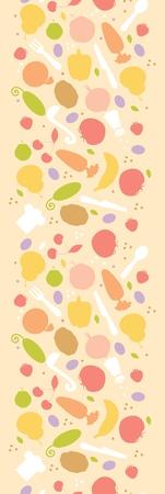 Vegetarian cooking vertical seamless pattern background border