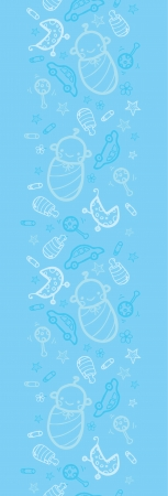 Baby boy blue vertical seamless pattern background border Vector