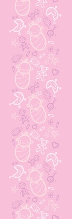 Baby girl pink vertical seamless pattern background border Vector