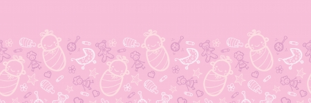 Baby girl pink horizontal seamless pattern background border