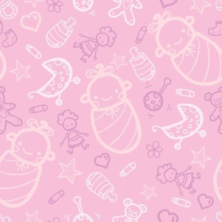 여자 아기 분홍색 원활한 패턴 배경 일러스트