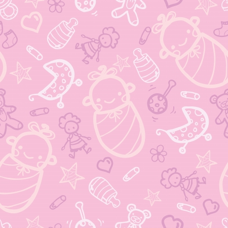 baby girl: Baby girl pink seamless pattern background