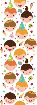 Kids at a birthday party vertical seamless pattern background Stock Vector - 17231288