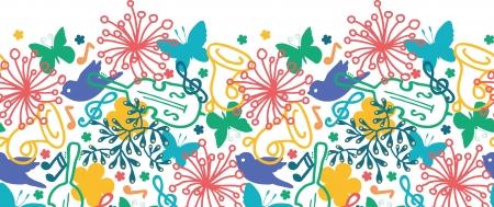 cute border: Primavera musica sinfonica orizzontale pattern di sfondo senza soluzione di continuit� Vettoriali