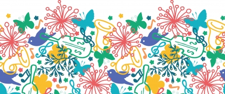 border cartoon: Spring music symphony horizontal seamless pattern background Illustration