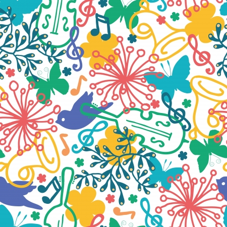 spring: Spring music symphony seamless pattern background Illustration