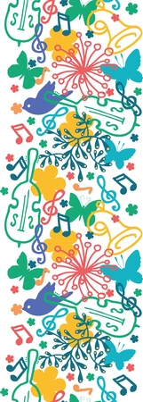 vertical garden: Spring music symphony vertical seamless pattern background Illustration