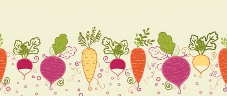 root vegetables: Ortaggi a radice di confine pattern di sfondo senza soluzione di continuit� orizzontale