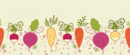 Root vegetables horizontal seamless pattern background border