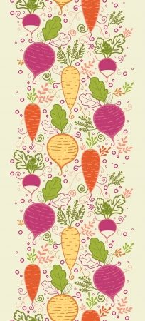 Root vegetables vertical seamless pattern background border Vector