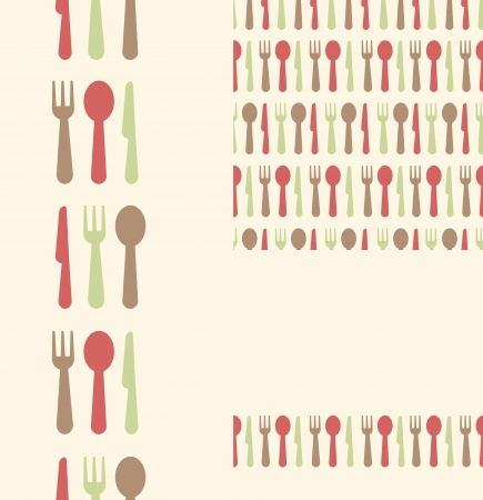 Set of three utensils seamless patterns and borders backgrounds