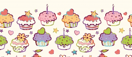horizontal: Birthday muffins horizontal seamless pattern background border